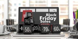 Black Friday-Online-Verkauf Schwarze Verkaufswürfel auf einem Laptop Abbildung 3D Stockfotos