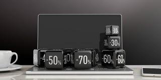 Black Friday-Online-Verkauf Schwarze Verkaufswürfel auf einem Laptop Abbildung 3D Lizenzfreies Stockfoto