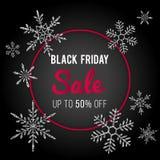 Black Friday-Ontwerp van de Verkoop het Vectorbanner De wintermalplaatje met zilveren glanzende schitterende sneeuwvlokken Royalty-vrije Stock Foto's