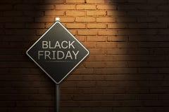 Black Friday op de zwarte verkeersteken Stock Fotografie