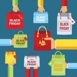 Black Friday, pakunek w rękach, zakup, sprzedaż, projekt, Eps10, ilustracja Zdjęcia Royalty Free