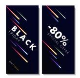 Black Friday-pamfletmalplaatje met kleurrijke fonkelingen royalty-vrije illustratie