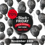 Black Friday Circle Label Balloons Percents 24 November. Black friday paper circles with black balloons and percents on the white Royalty Free Stock Photos