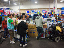 Black Friday. People shopping in a Best Buy store during Black Friday , Mcallen, Texas stock photography