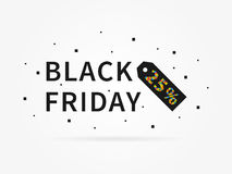 Black Friday 25 percent off discount. Black Friday 25 percent discount vector illustration on grey background. Black Friday 25 percent off discount creative Stock Images