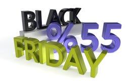 Black Friday, pięćdziesiąt pięć procentów rabatów, 3d rendering Royalty Ilustracja