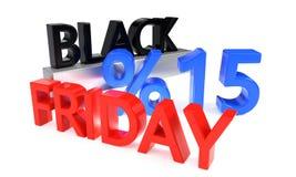 Black Friday piętnaście procentów rabat, 3d rendering Royalty Ilustracja