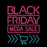 Black Friday poster glowing light letter on black Royalty Free Stock Image