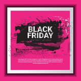 Black Friday Poster Over Grunge Background, Special Sale Banner, Shopping Promotion And Discount Concept Stock Photo