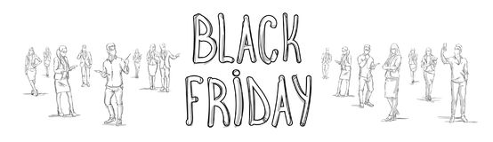 Black Friday Poster With Sketch People Group Silhouette Horizontal Banner Royalty Free Stock Photo