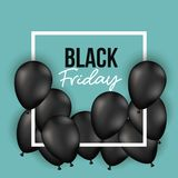 Black friday poster with white frame with black balloons and aquamarine color background. Vector illustration Stock Images
