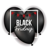 Black friday poster with white frame with festoons over three black balloons in white color background. Vector illustration Royalty Free Stock Photography