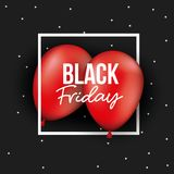 Black friday poster with white frame over two red balloons in black and starry color background. Vector illustration Royalty Free Stock Photos