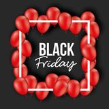 Black friday poster with white frame with red balloons and black background. Vector illustration Stock Image