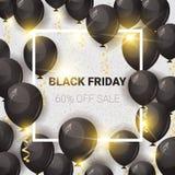 Black Friday 60 pour cent outre d'affiche de vente avec des ballons à air au-dessus de la promotion blanche de vacances d'insecte Photographie stock libre de droits