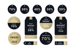Black friday price stickers and tags. Vector Winter holiday season marketing sale. Black friday price golden stickers and tags. Vector Winter holiday season Stock Photography