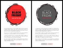 Black Friday Price Reduction Badges on Web Pages. With buttons read and buy now. Advertisement on sale, sketch style labels with info about total discounts vector illustration