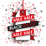 Black Friday Price Sticker Ribbon Percents. Price sticker with ribbon and text sale black friday on the background with percents Vector Illustration