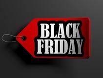 Black Friday price tag, isolated on black. 3D render illustration vector illustration