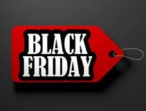 Black Friday price tag, isolated on black. 3D render illustration royalty free illustration