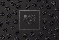 Black Friday price tag label for sale or promotion mockups. Black background with gift ribbons message Royalty Free Stock Photos