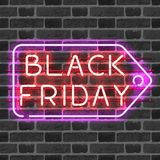 BLACK FRIDAY price tag neon sign Royalty Free Stock Photo