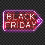BLACK FRIDAY price tag neon sign Stock Images