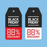 Black friday price tag with red and white changable dig vector illustration