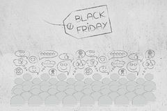 Black friday price tag with text and crowd with happy reactions. Black friday and cyber monday promotions: price tag with text and crowd with happy reactions Stock Photos