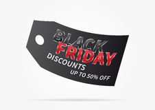 Black Friday with price tag vector illustration. Black Friday with black price tag vector illustration on light grey background. Creative banner Black Friday Royalty Free Stock Photography