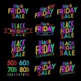 Black Friday progetta il NEON | Retro elementi di stile | Ornamenti d'annata | Vendita, spazio | Insieme di vettore | Retro luce  Illustrazione Vettoriale