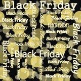 Black Friday projekt z Żółtym i Czarnym polki kropki płytki wzorem Zdjęcia Royalty Free