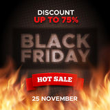 Black Friday promo banner vector background. Black Friday promo vector background. Hot sale retail promotion banner design with red ribbon and fire flames for Royalty Free Stock Image