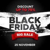 Black Friday promo banner vector background. Black Friday promo vector background with red ribbon and white paint smear. Retail promotion banner design for Stock Photos