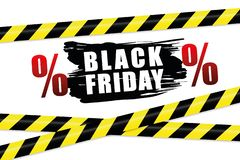 Black friday promotion with warning tape royalty free illustration