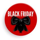 Black Friday promotional emblem with bow made of silk ribbon Stock Photography