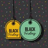 Black friday promotional offer tags yellow and green pendant of threads in black background with confetti colorful. Vector illustration Stock Image