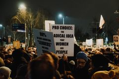 Black Friday - Black Protest, Poland. Protest against the tightening of the abortion law. March 23, 2018. Warsaw, Poland royalty free stock photos