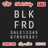 Black Friday que vem logo Flip Clock Letters análogo, ilustração stock