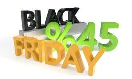 Black Friday rabat czterdzieści pięć procentów, 3d rendering Ilustracja Wektor