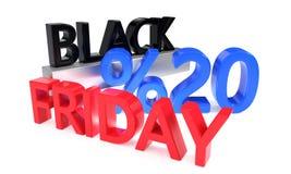 Black Friday rabat dwadzieścia procentów, 3d rendering Royalty Ilustracja