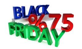 Black Friday rabat siedemdziesiąt pięć procentów, 3d rendering Royalty Ilustracja