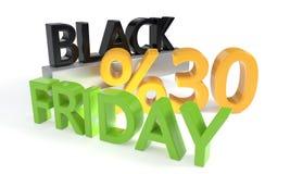 Black Friday rabat trzydzieści procentów, 3d rendering Ilustracja Wektor