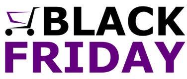 Black Friday rabata oferty logo z wózka na zakupy wektorowy ilustracyjnym łączący fiołkowego i czarnego colour ilustracja wektor