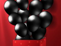 Black friday realistic balloons from red box in lighting background. Vector illustration. royalty free illustration