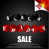 Black friday with red and black cubes on black background Royalty Free Stock Photo
