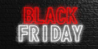 Black Friday in red and white neon letters on black stone wall background. 3d illustration. Black Friday concept. Sign in red and white neon letters on black vector illustration