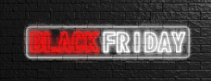 Black Friday in red and white neon letters on black stone wall background. 3d illustration Stock Photography