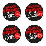 Black Friday-reeks van de verkoop de vectordiesticker op witte achtergrond wordt geïsoleerd Stock Fotografie