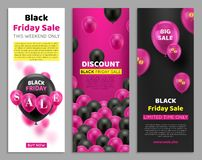 Black Friday reklamblad med ballongen stock illustrationer